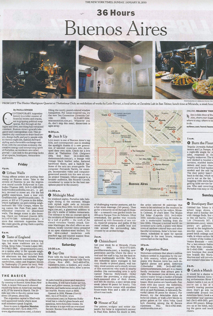 New York Times: 36 Hours in Buenos Aires | Algodon Wine Estates